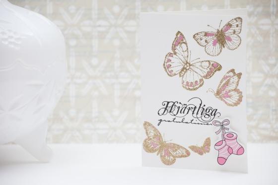 Guldembossade fjärilar. Serine Designs blog