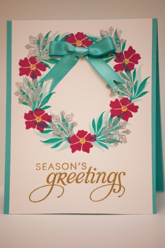 Christmas wreath card. Papertrey Ink stamps. Serine Designs blog