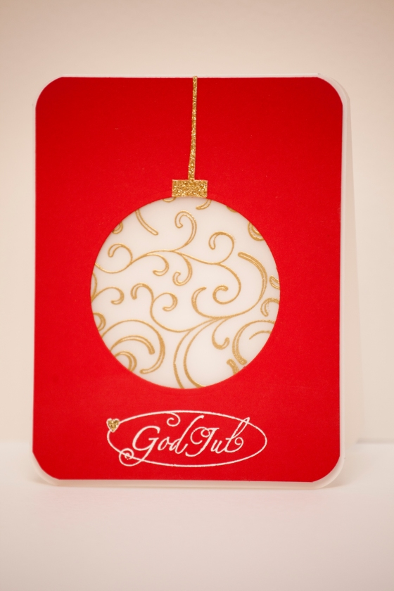 Swedish Christmas card. Gold embossed Christmas ornament. Serine Designs blog